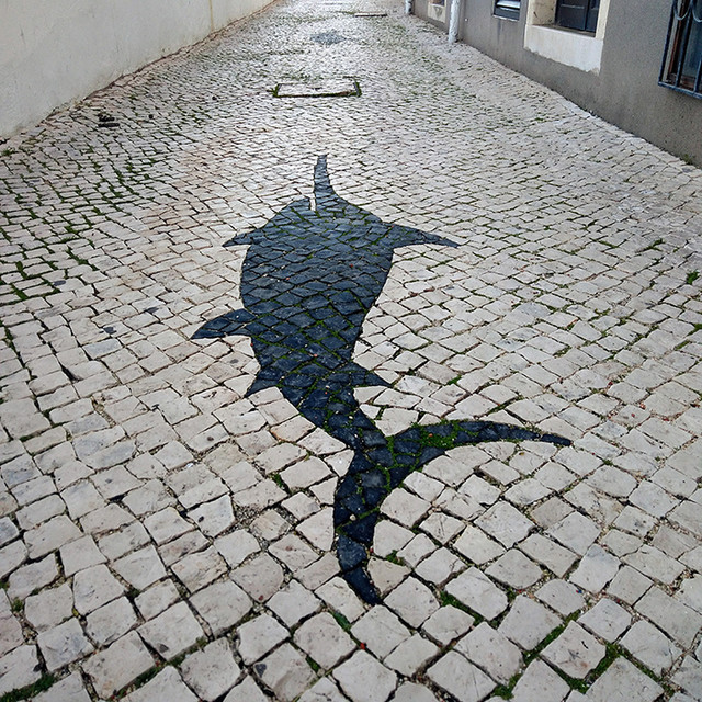 Ada Wanders/Włóczykijada. Street Art in Lagos. Shape of a fish on the pavement.